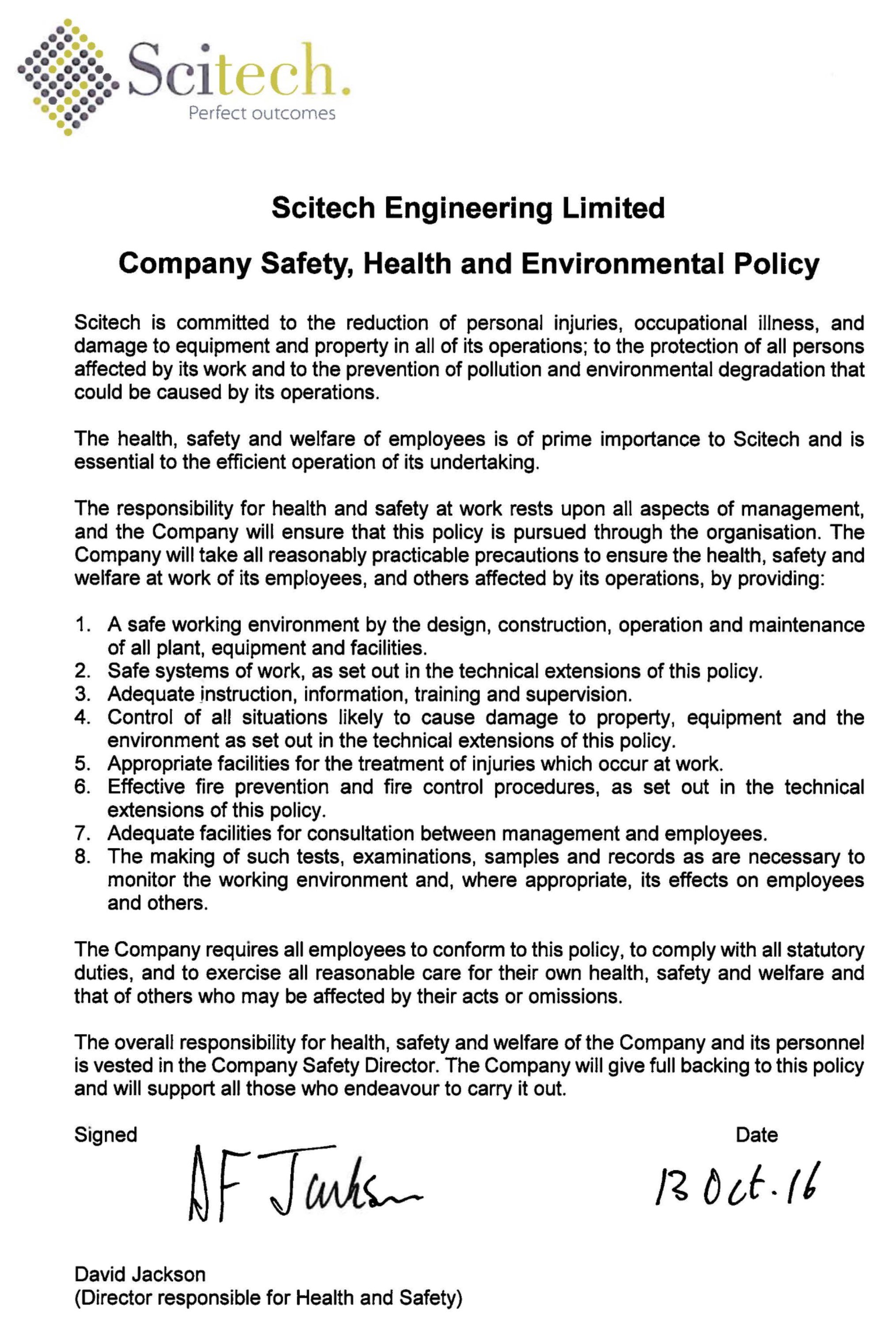 environment health safety policy